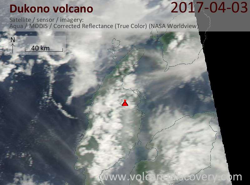 Satellite image of Dukono volcano on  3 Apr 2017