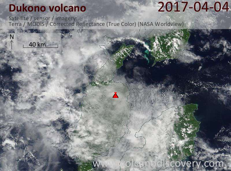 Satellite image of Dukono volcano on  4 Apr 2017