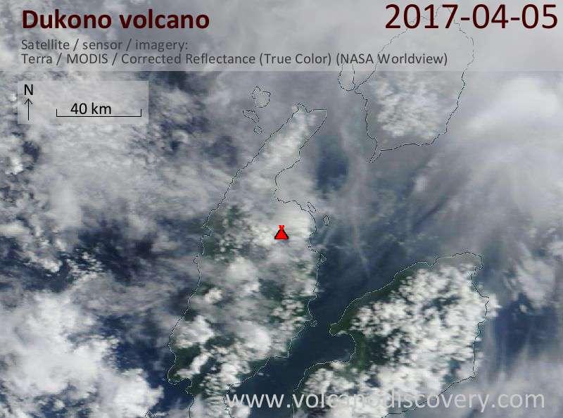 Satellite image of Dukono volcano on  5 Apr 2017