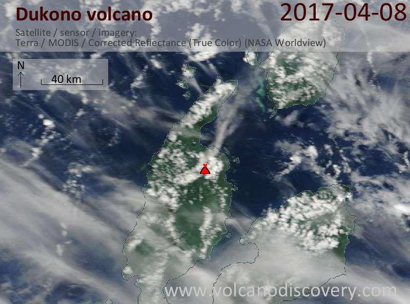Satellite image of Dukono volcano on  8 Apr 2017