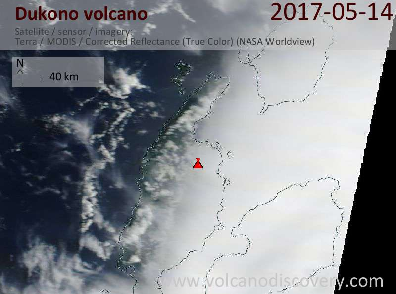 Satellite image of Dukono volcano on 14 May 2017