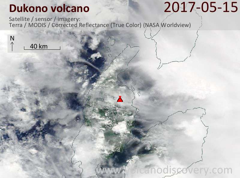 Satellite image of Dukono volcano on 15 May 2017