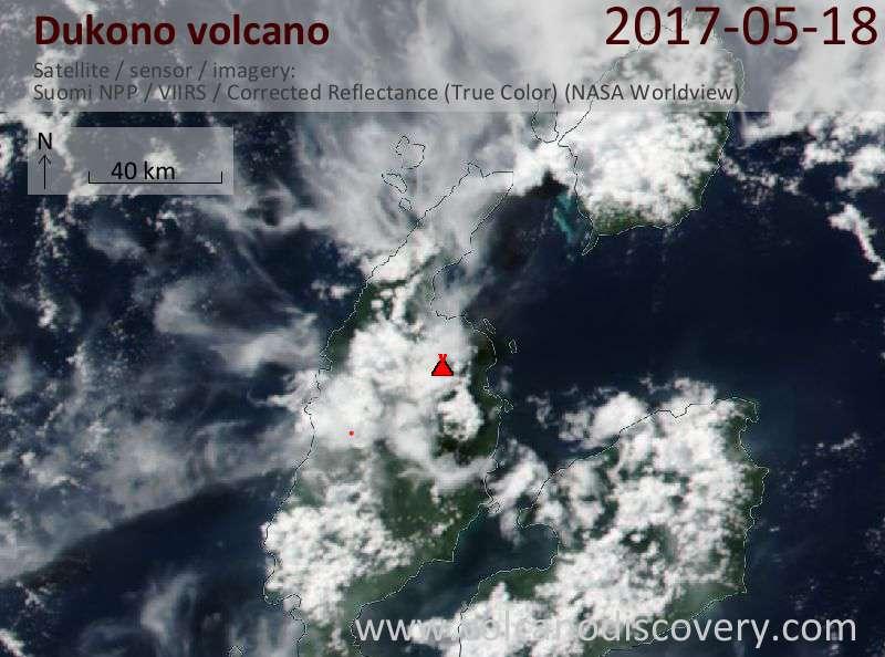Satellite image of Dukono volcano on 19 May 2017