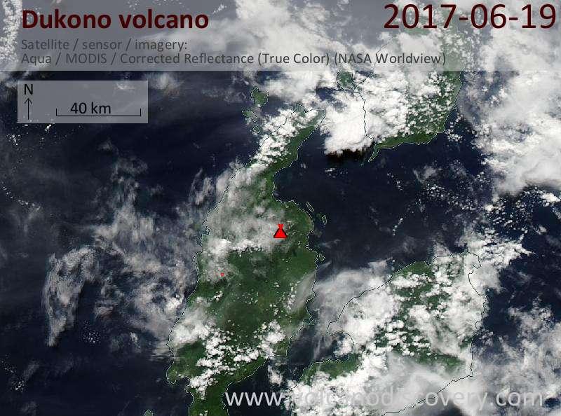 Satellite image of Dukono volcano on 19 Jun 2017