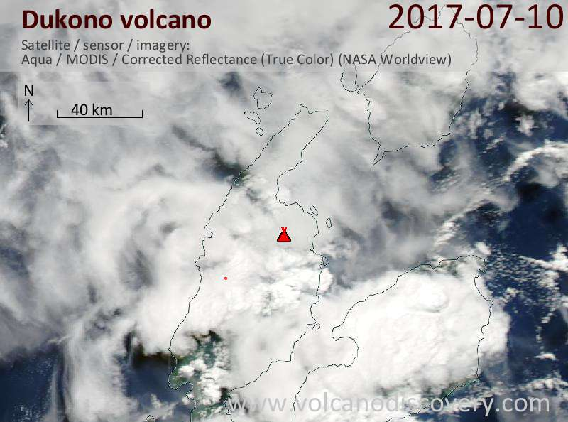 Satellite image of Dukono volcano on 11 Jul 2017