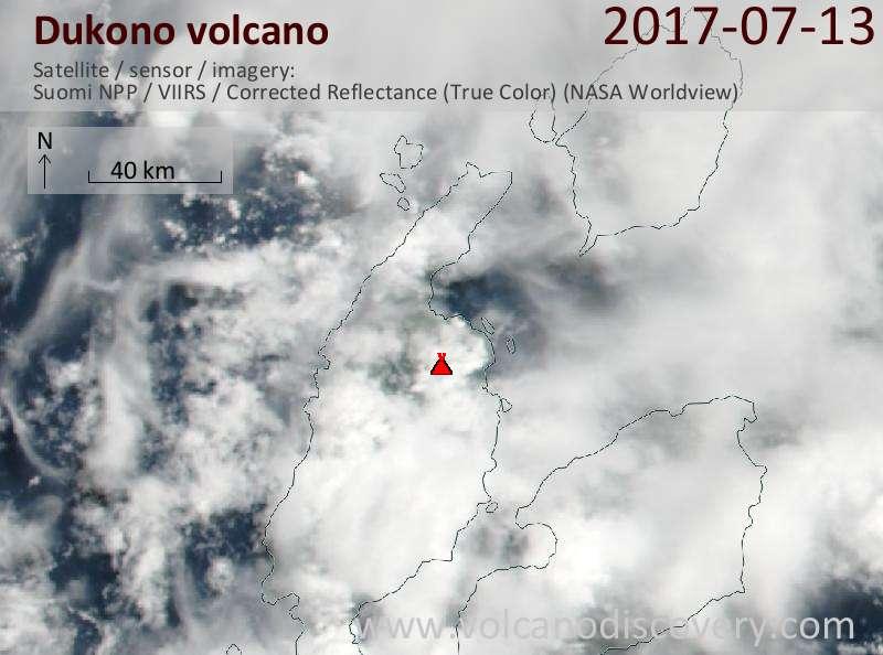Satellite image of Dukono volcano on 13 Jul 2017