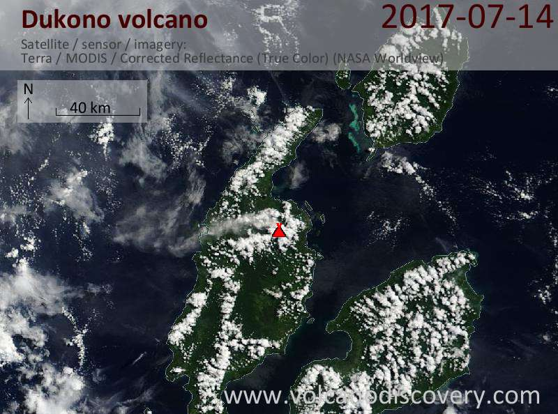 Satellite image of Dukono volcano on 14 Jul 2017