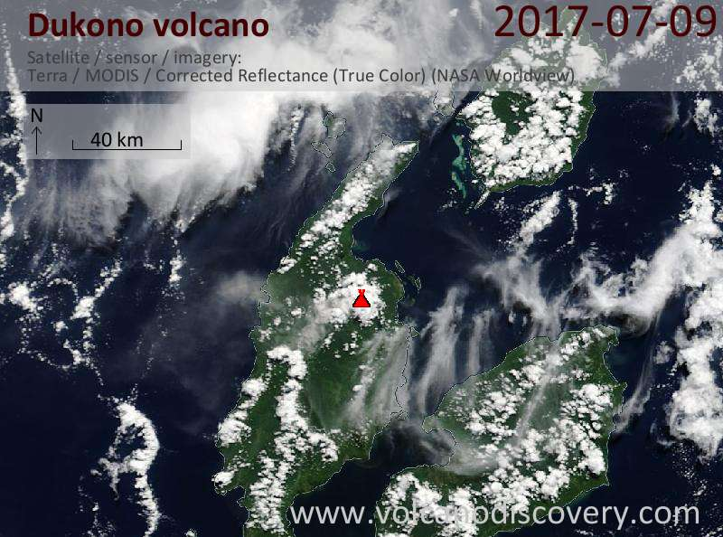Satellite image of Dukono volcano on  9 Jul 2017