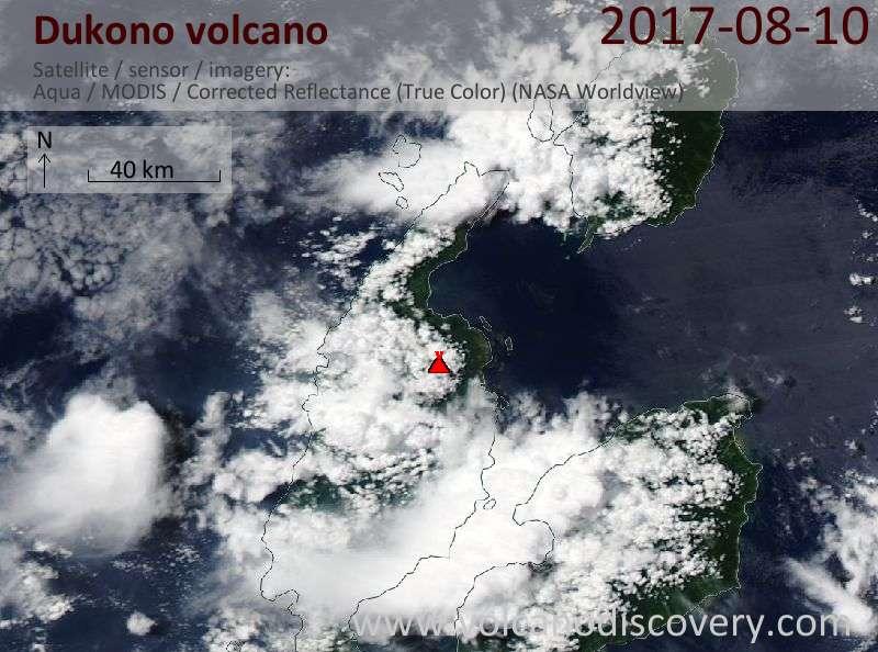 Satellite image of Dukono volcano on 10 Aug 2017