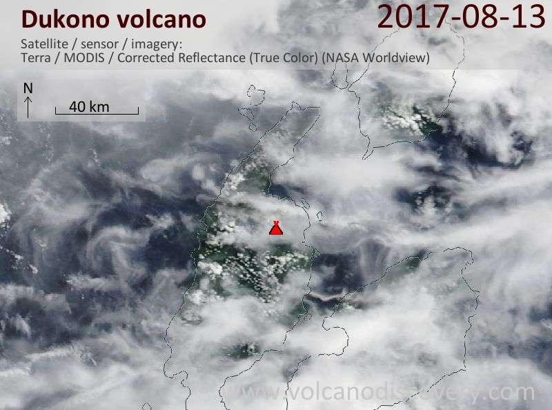 Satellite image of Dukono volcano on 13 Aug 2017