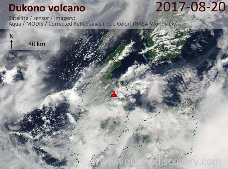 Satellite image of Dukono volcano on 20 Aug 2017