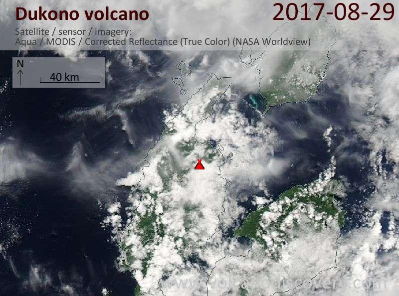 Satellite image of Dukono volcano on 29 Aug 2017