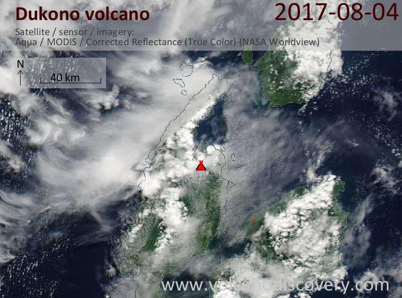 Satellite image of Dukono volcano on  7 Aug 2017
