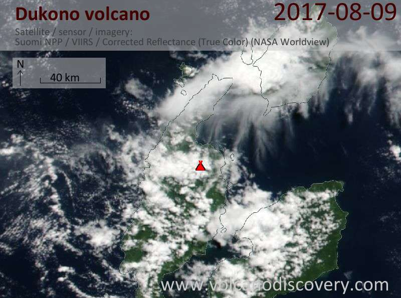 Satellite image of Dukono volcano on  9 Aug 2017