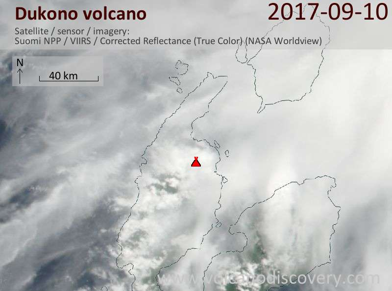 Satellite image of Dukono volcano on 10 Sep 2017