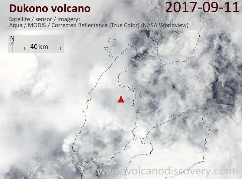 Satellite image of Dukono volcano on 11 Sep 2017