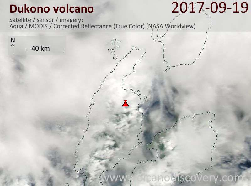 Satellite image of Dukono volcano on 19 Sep 2017