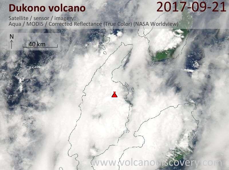Satellite image of Dukono volcano on 21 Sep 2017
