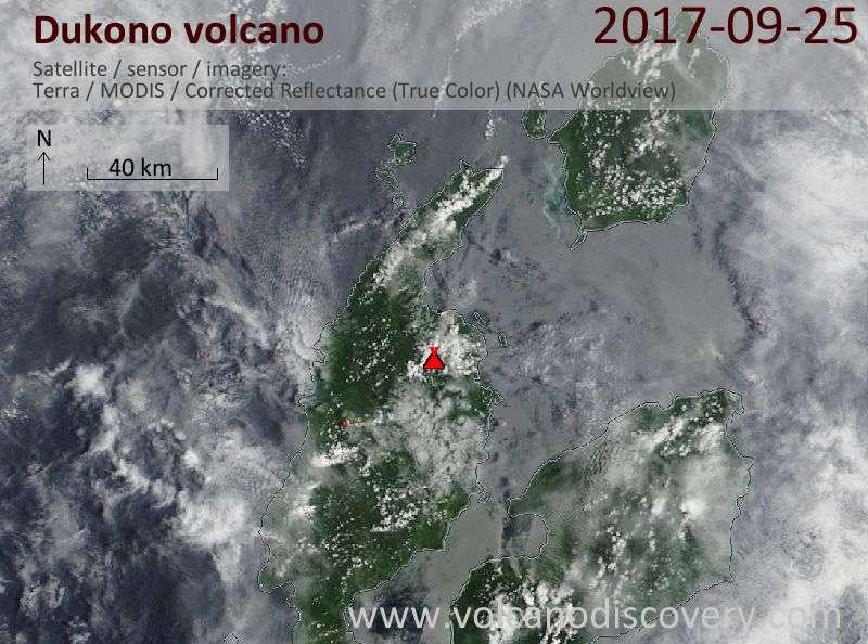 Satellite image of Dukono volcano on 25 Sep 2017