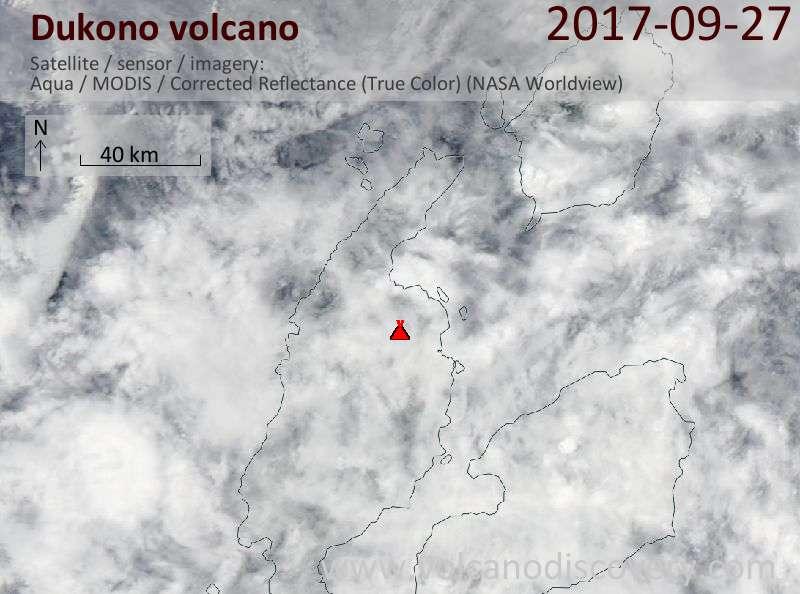 Satellite image of Dukono volcano on 27 Sep 2017