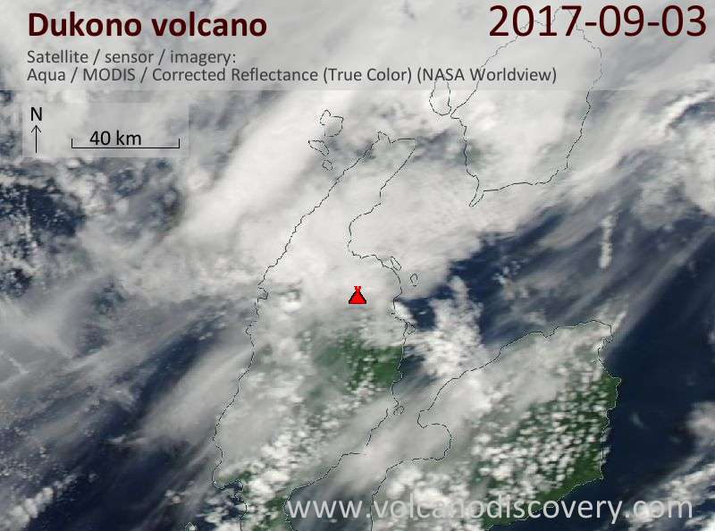 Satellite image of Dukono volcano on  3 Sep 2017