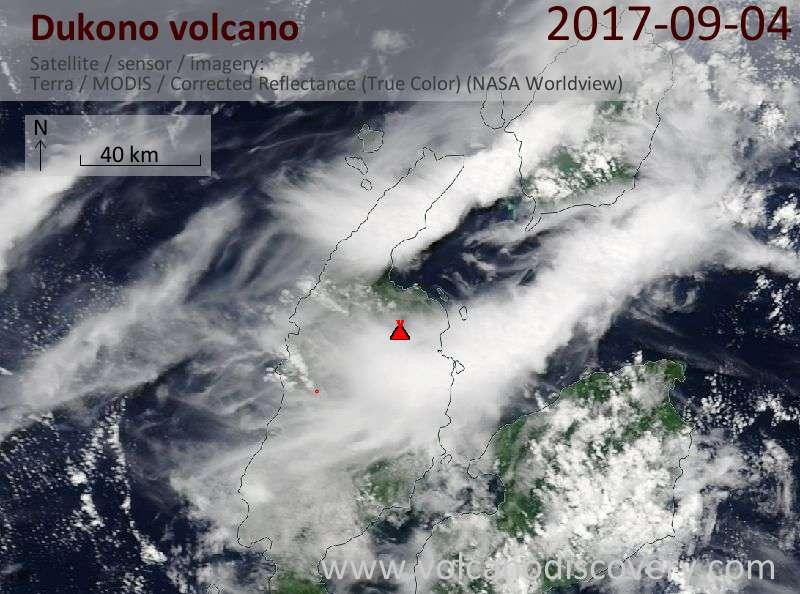 Satellite image of Dukono volcano on  4 Sep 2017