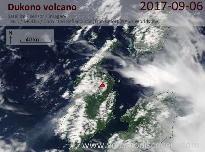 Satellite image of Dukono volcano on  6 Sep 2017