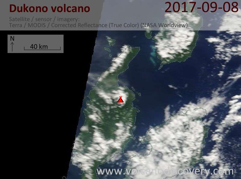 Satellite image of Dukono volcano on  8 Sep 2017