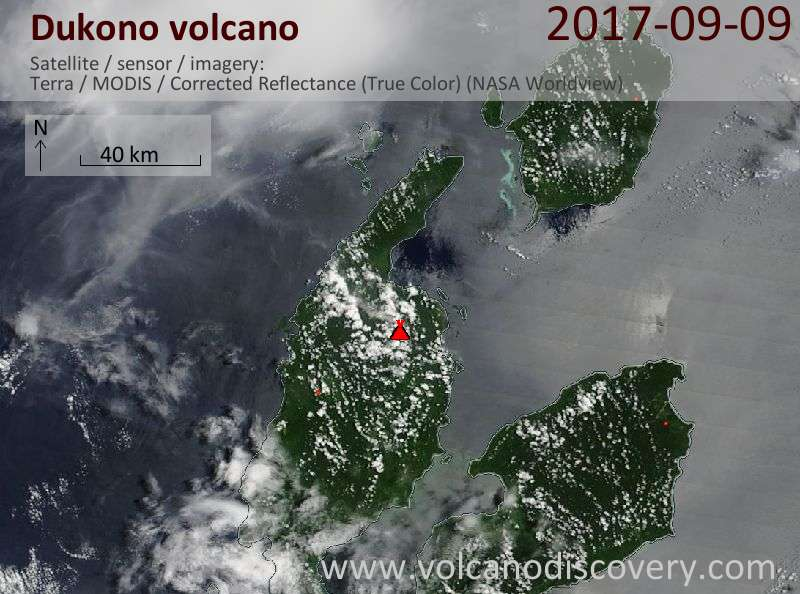 Satellite image of Dukono volcano on  9 Sep 2017