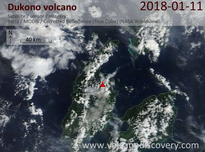 Satellite image of Dukono volcano on 11 Jan 2018