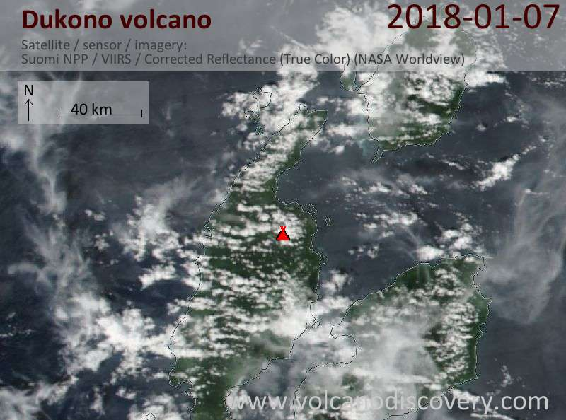 Satellite image of Dukono volcano on  7 Jan 2018