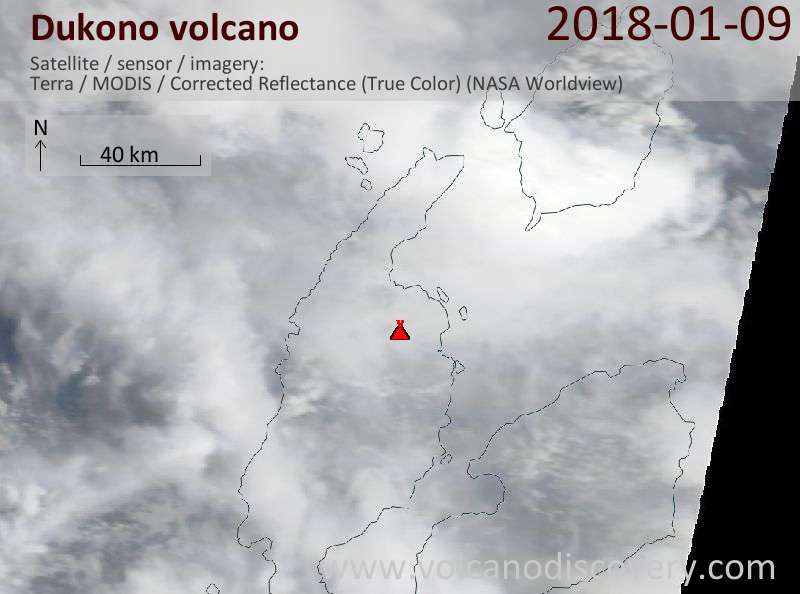 Satellite image of Dukono volcano on  9 Jan 2018