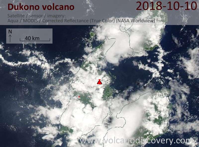 Satellite image of Dukono volcano on 10 Oct 2018