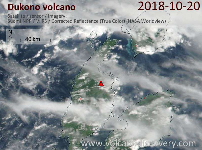 Satellite image of Dukono volcano on 20 Oct 2018