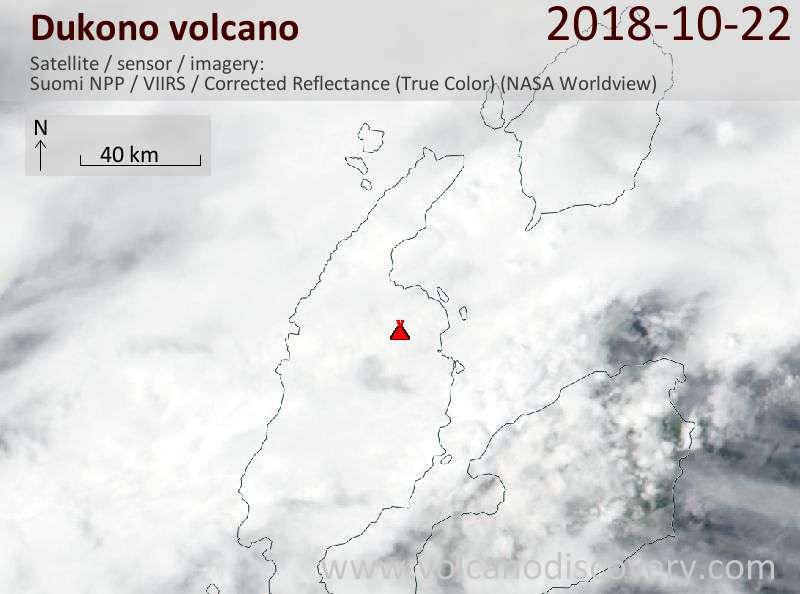 Satellite image of Dukono volcano on 23 Oct 2018