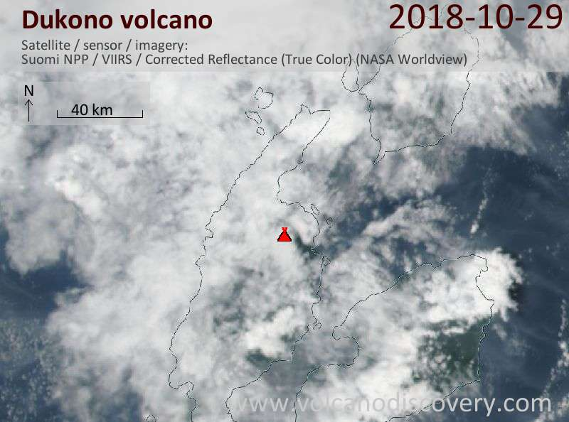 Satellite image of Dukono volcano on 29 Oct 2018
