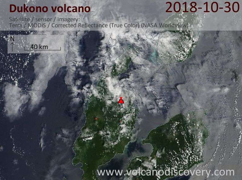Satellite image of Dukono volcano on 30 Oct 2018