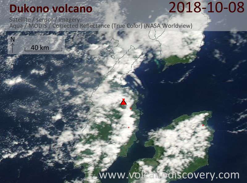 Satellite image of Dukono volcano on  8 Oct 2018