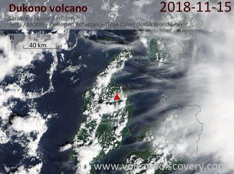 Satellite image of Dukono volcano on 15 Nov 2018