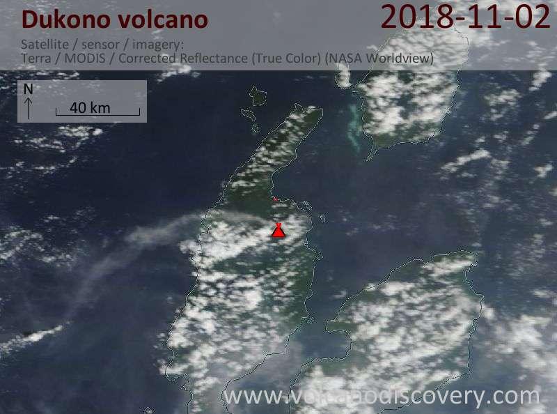 Satellite image of Dukono volcano on  2 Nov 2018