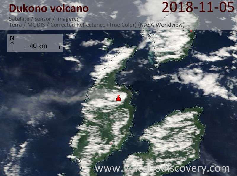 Satellite image of Dukono volcano on  5 Nov 2018
