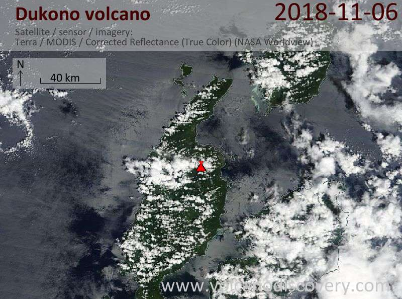 Satellite image of Dukono volcano on  6 Nov 2018