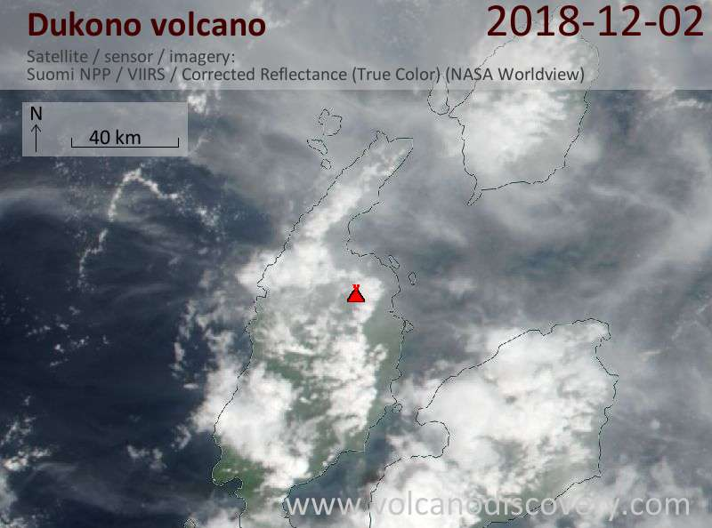 Satellite image of Dukono volcano on  2 Dec 2018