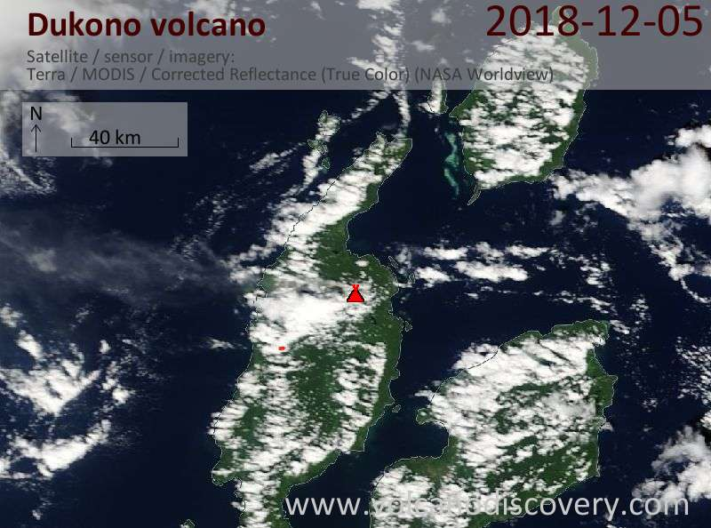 Satellite image of Dukono volcano on  5 Dec 2018