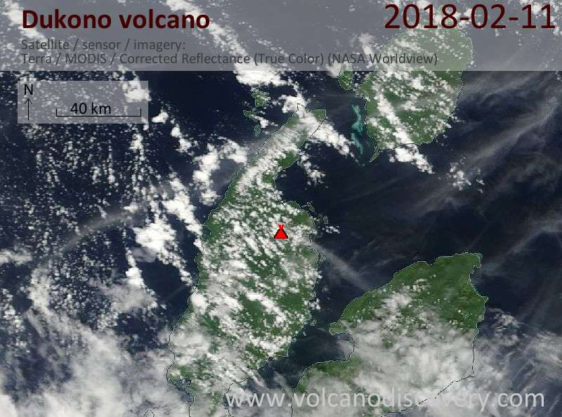 Satellite image of Dukono volcano on 11 Feb 2018
