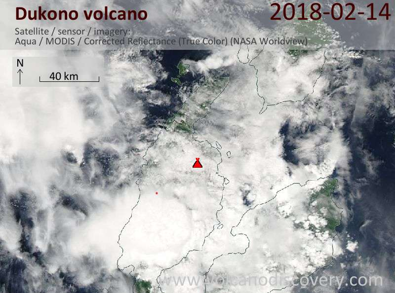 Satellite image of Dukono volcano on 14 Feb 2018