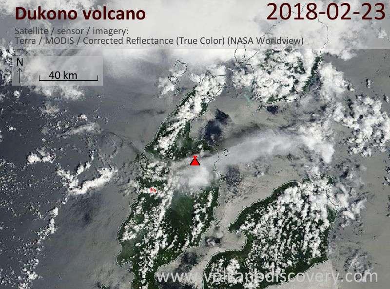 Satellite image of Dukono volcano on 23 Feb 2018