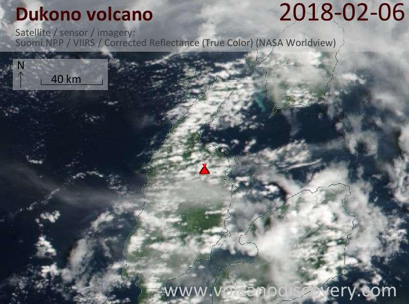 Satellite image of Dukono volcano on  6 Feb 2018