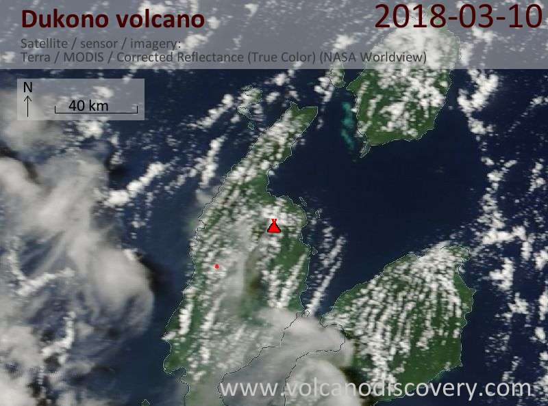 Satellite image of Dukono volcano on 10 Mar 2018