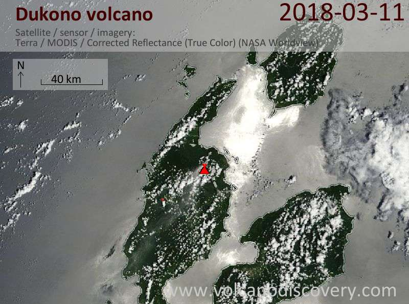 Satellite image of Dukono volcano on 11 Mar 2018